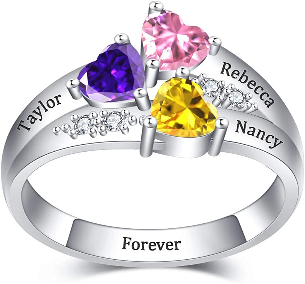 Lovenus 925 Sterling Silver Personalized Ring with 3 Promise Hea Max 69% Oakland Mall OFF
