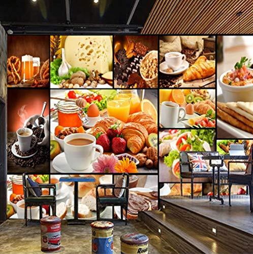 Fotobehang - vlies muur behang woonkamer slaapkamer kantoor hal decoratie wandschilderijen pizza burger koffie aardbei en brood 200(w)x140(H)cm