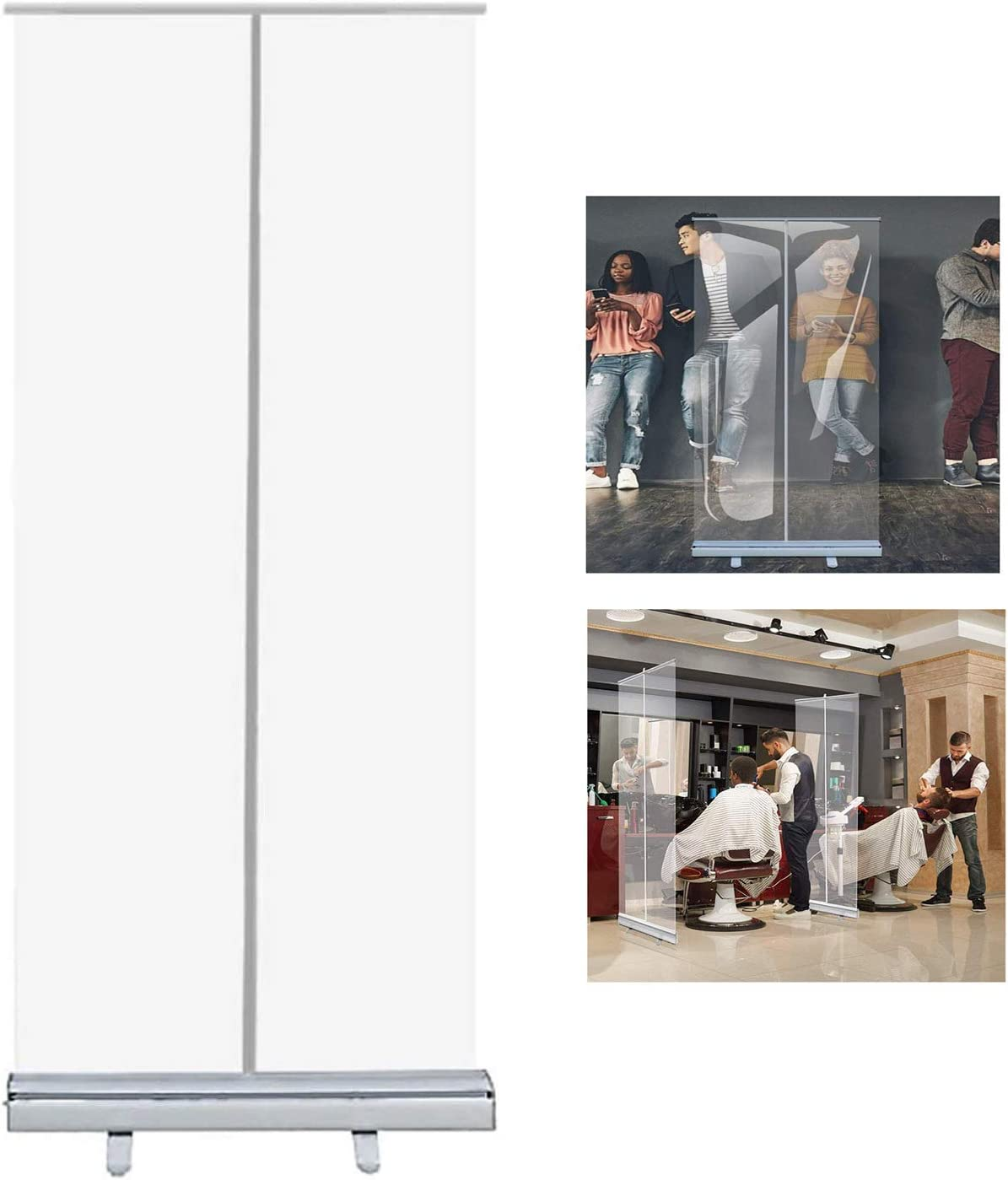 Size : 80x200cm OESFL Floor Standing Sneeze Guard,Protective Shield for Cafes,Retail Stores,Cashier,Receptionist,Portable Roll Up Banner Free Standing Isolation Barrier 31.49x70.86in