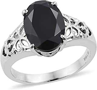 Stainless Steel Oval Black Spinel Engagement Ring for Women Jewelry Gift Size 10 Cttw 5.9