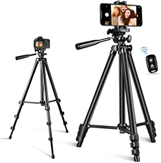 Phone Tripod, Torjim 50-inch Extendable and Lightweight Aluminum Tripod Stand with Bluetooth Remote Shutter, Phone Clip, P...