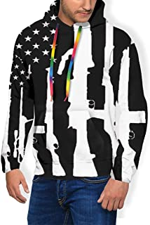 Men's Never Disarm Guns USA Flag Print Hooded Sweatshirt Casual Pullover with Pockets