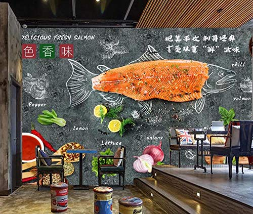 Retro Zementwand realistische 3D gegrillte Fischgeschäft Esszimmer Hintergrund Wand-350 * 245cm