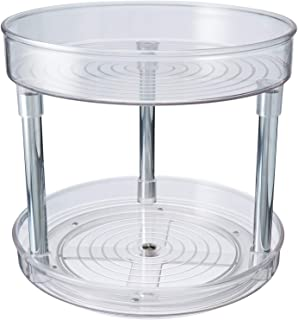 (Clear) - mDesign 2 Tier Lazy Susan Turntable Food Storage Container for Cabinet, Pantry, Refrigerator, Countertops, BPA F...