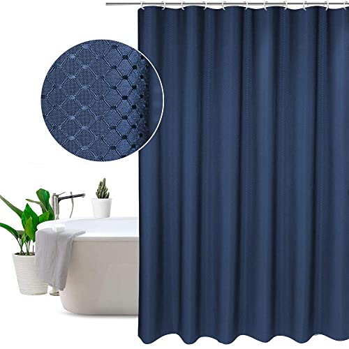 EurCross Polyester Shower Curtain Blue Elegant Waffle Hotel Liner Mildew Resistant Water Repellent