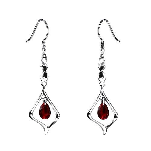 e7e658bf3f Purple Gemstone Gold Plate 925 Sterling Silver Drop Earrings for women