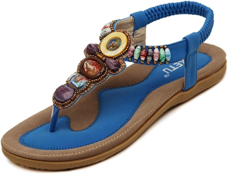 Btrada Women Bohemian Beaded Flat Sandals T-Strap Elastic Beach Sandals