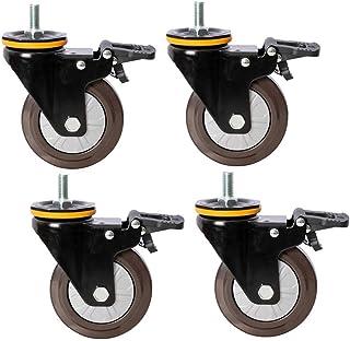 Rubber Meubilair Caster 75/100/125mm Swivel Castor Met Remmen, Vervangende Wielen Voor Trolley, Bruin Antislip Set Van 4