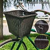 HizoeChu Canasta de Bicicleta Canasta de Bicicleta de Mimbre Vintage con Correas de Cuero Canasta de Compras de Bicicleta Tradicional Hecha a Mano Cesta de Mimbre Tejida