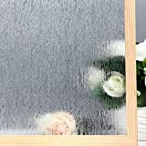 VELIMAX Static Cling Rain Glass Window Film Removable Rain Decorative Window Film Privacy Anti-UV Heat Control (17.7'x 78.7')