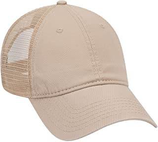 Garment Washed Cotton Twill 6 Panel Low Profile Mesh Back Trucker Hat