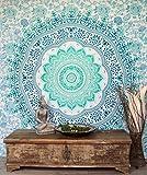 GURU SHOP Boho-Style Wandbehang, Indische Tagesdecke Mandala Druck- Smaragdgrün, Baumwolle, 230x210 cm, Bettüberwurf, Sofa Überwurf