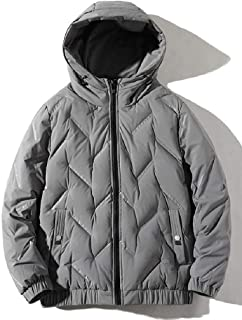 Macondoo Mens Hooded Mid Long Quilted Plain Packable Autumn Winter Down Coat