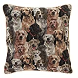 Signare Tapestry Double Sided Square Throw Pillow Cover 18' x 18'/ 45cm x 45cm (No Padding) in Labrador Dog Design