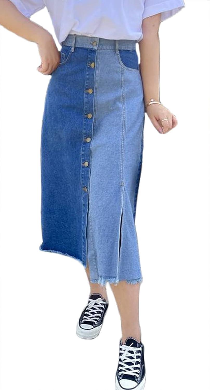 CHARTOU Women's High Waist Button-Fly Slit Irregular Tassel Patchwork A-Line Denim Skirt