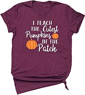 I Teach The Cutest Pumpkins in The Patch Halloween T-Shirt Funny Costume Women Casual Short Sleeve Tee