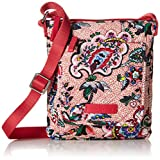 Vera Bradley womens Iconic RFID Mini Hipster, Signature Cotton, Stitched Flowers, One Size