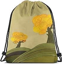 Drawstring Backpack Bags Sport Gym Cinch Bag Travel for Women Men Children,Artful Autumn Landscape With Scribble Trees On Hills Illustration