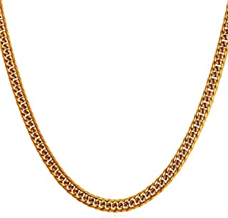 U7 Men Hip Hop Chunky Chain Width 3.5mm-12mm, Custom Engrave Available Stainless Steel/Black Gum/18K Gold Plated Jewelry Thick Franco Curb Link Necklace, Length 18