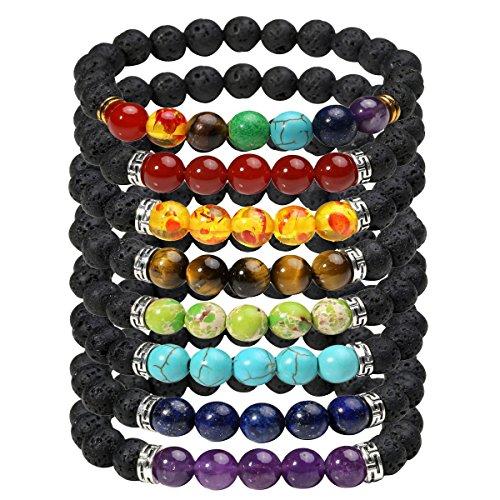 Eigso 8 Pcs 7 Chakra Bracelet Set for Women Men Lucky Lava Rock Stone Meditation Beads with Reiki Healing