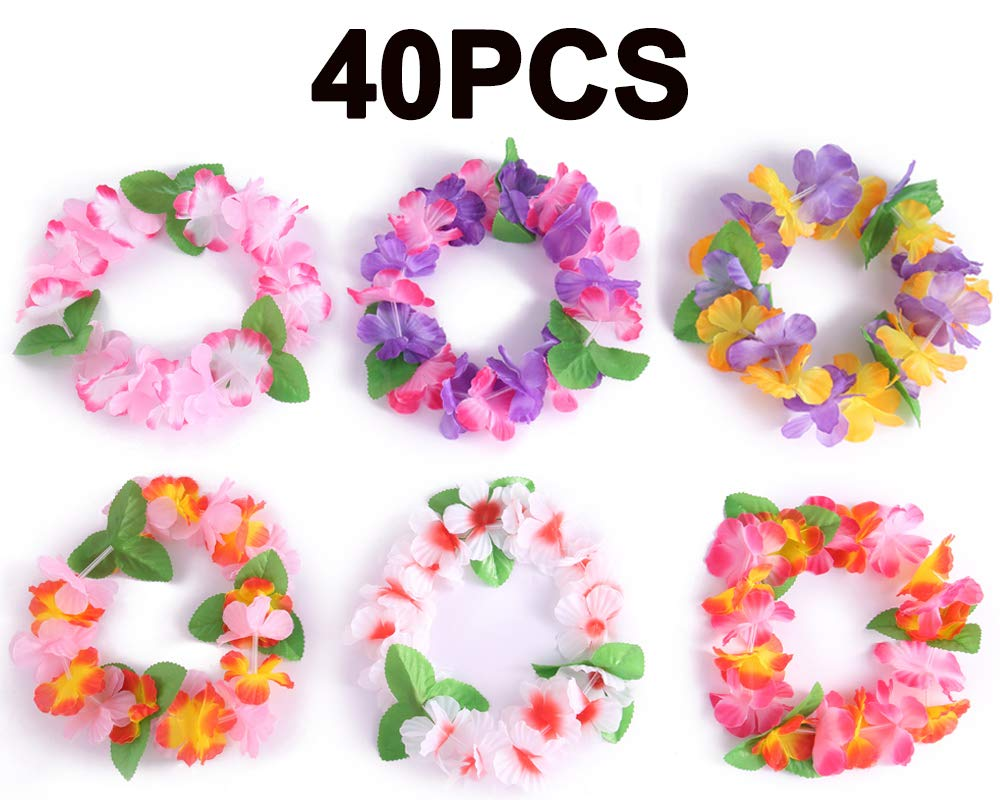 10//36PCS Hawaiian Ruffled Flower Luau Floral Leis for Dress Party Necklace Beach