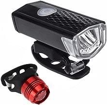 Quaanti Super Bright USB Led Bike Waterproof Front Lamp Bicycle Light 3 Light Modes Strap Rechargeable Headlight &Taillight Set (Black)