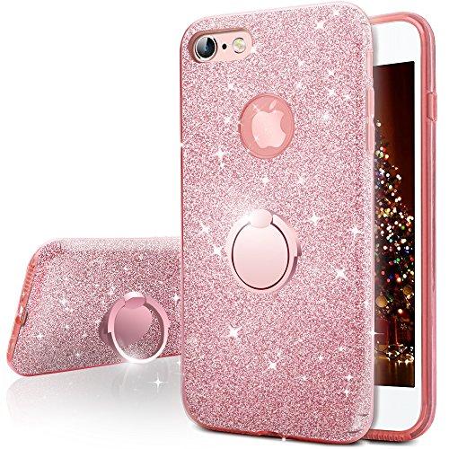Miss Arts Funda iPhone 6S Plus, Funda iPhone 6 Plus, Carcasa Brillante Brillo con Soporte, Cubierta Exterior de TPU Suave + armazón Interior de PC Duro para Apple iPhone 6S / 6 Plus -Rose Oro