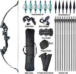 Tongtu アーチェリーリカーブ弓と矢セット大人初心者30 40Lbsテイクダウン弓キット矢印付きターゲット左右アウトドアトレーニングターゲット練習玩具