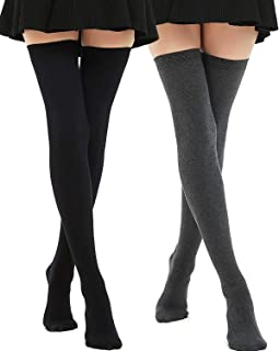 Extra Long Cotton Thigh High Socks Over the Knee High Boot Stockings Plus Size Leg Warmers