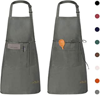 Viedouce Womens Mens Aprons with Pockets Durable Restaurant Aprons for Chefs Pocket Apron 2 Pack, Gray