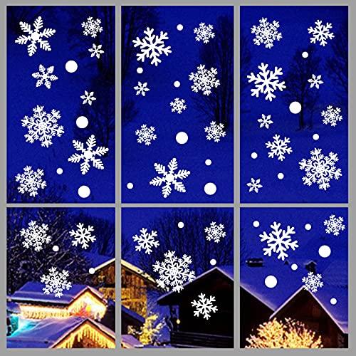 heekpek Adesivi Natalizi Fiocco di Neve Adesivo per Finestra Decorazione Natalizia PVC Removibile,162 Pezzi