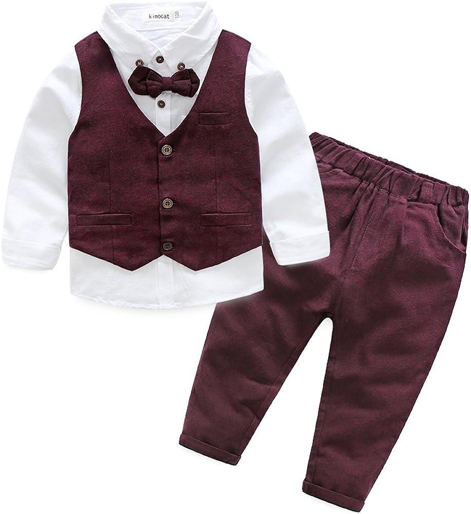 Boys 3Pcs Clothing Sets Cotton Long + Bowtie Max 59% OFF Sleeve Soldering Shirts +Vest