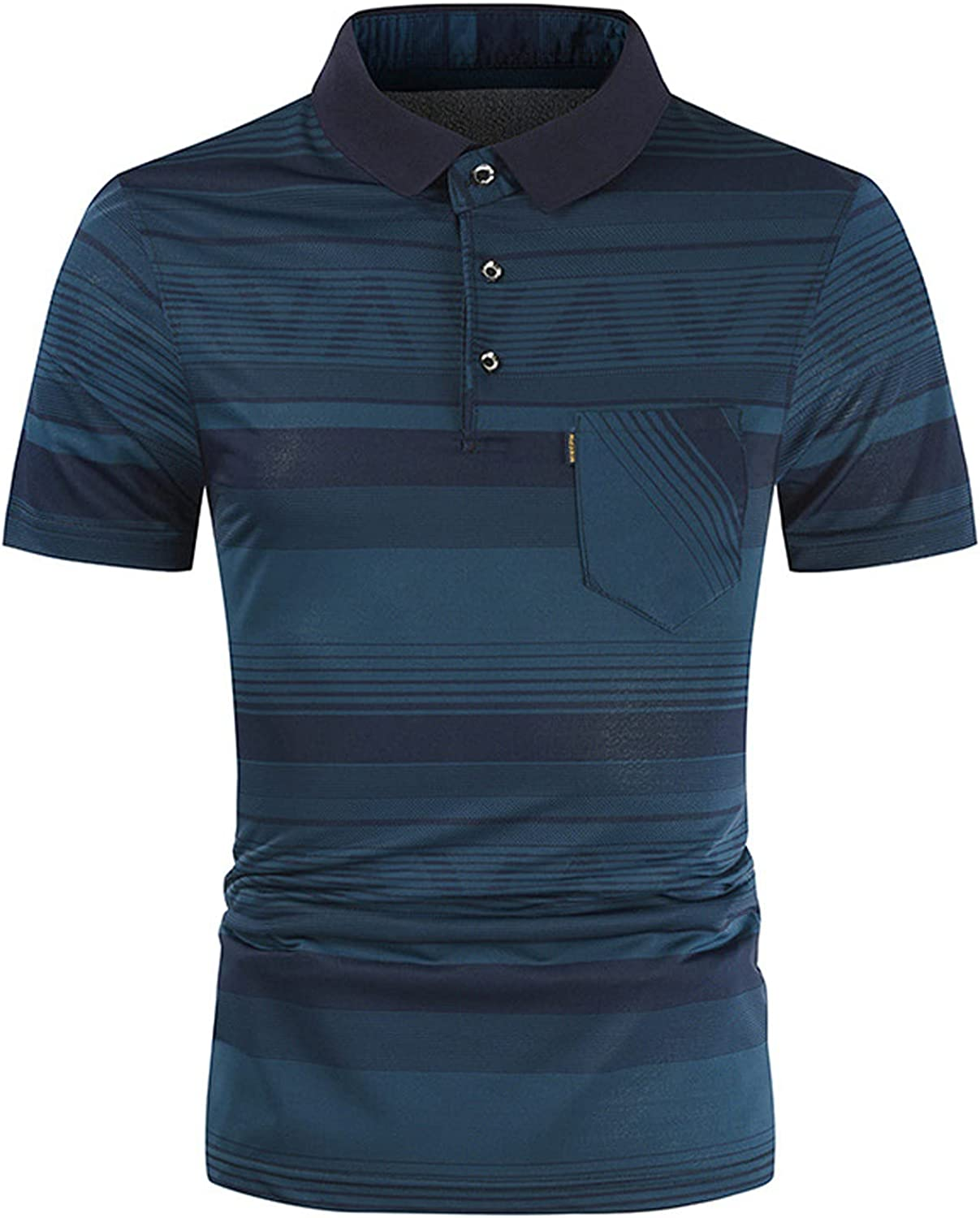 Mens Polo Shirts Short Sleeve with Pocket Summer Slim Casual Fit Patchwork Short Sleeve T-Shirt Top Blouse