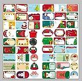 FLZONE 12 Feuilles Étiquette Cadeau Noël,108 Pièces D'étiquettes D'étiquettes de Noël Autocollants pour Sacs de Noël Cartes Etiquettes-Cadeaux D'enveloppe Décorations de Vacances