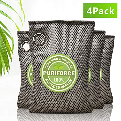Save %16 Now! Bravex Coconut Shell Charcoal Activated Carbon Air Purifying Bags (4 Pack), Car Air Pu...