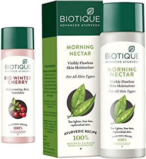 Biotique Bio Winter Cherry Lightening and Rejuvenating Body Nourisher, 190ml and Morning Nectar Flawless Skin Lotion for A...