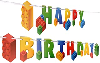 Building Block Birthday Party Supplies Banner by Aliza | Baby Boy Toddler Kids Birthday Decorations – Huge 7-feet Long Brick Themed Birthday Decor – The Perfect Decoration for Your Party