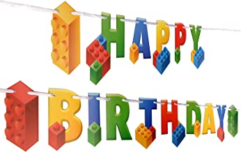 Building Block Birthday Party Supplies Banner by Aliza   Baby Boy Toddler Kids Birthday Decorations – Huge 7-feet Long Brick Themed Birthday Decor – The Perfect Decoration for Your Party