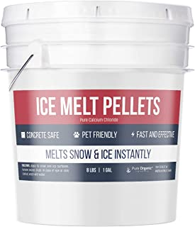 Pure Organic Ingredients Ice Melt Pellets (8 lb, 1 Gallon), 100% Pet Safe & Concrete Safe, Snow & Ice Melt, Calcium Chloride Pellets, Powerful & Fast Acting