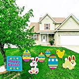 Easter Decorations Outdoor Clearance,Yard Sign,lawn signs with stakes,Easter Yard Signs Easter Rabbit Eggs Yard Sign Decoration-Weatherproof Corrugated Plastic Outdoor Party Decoration…