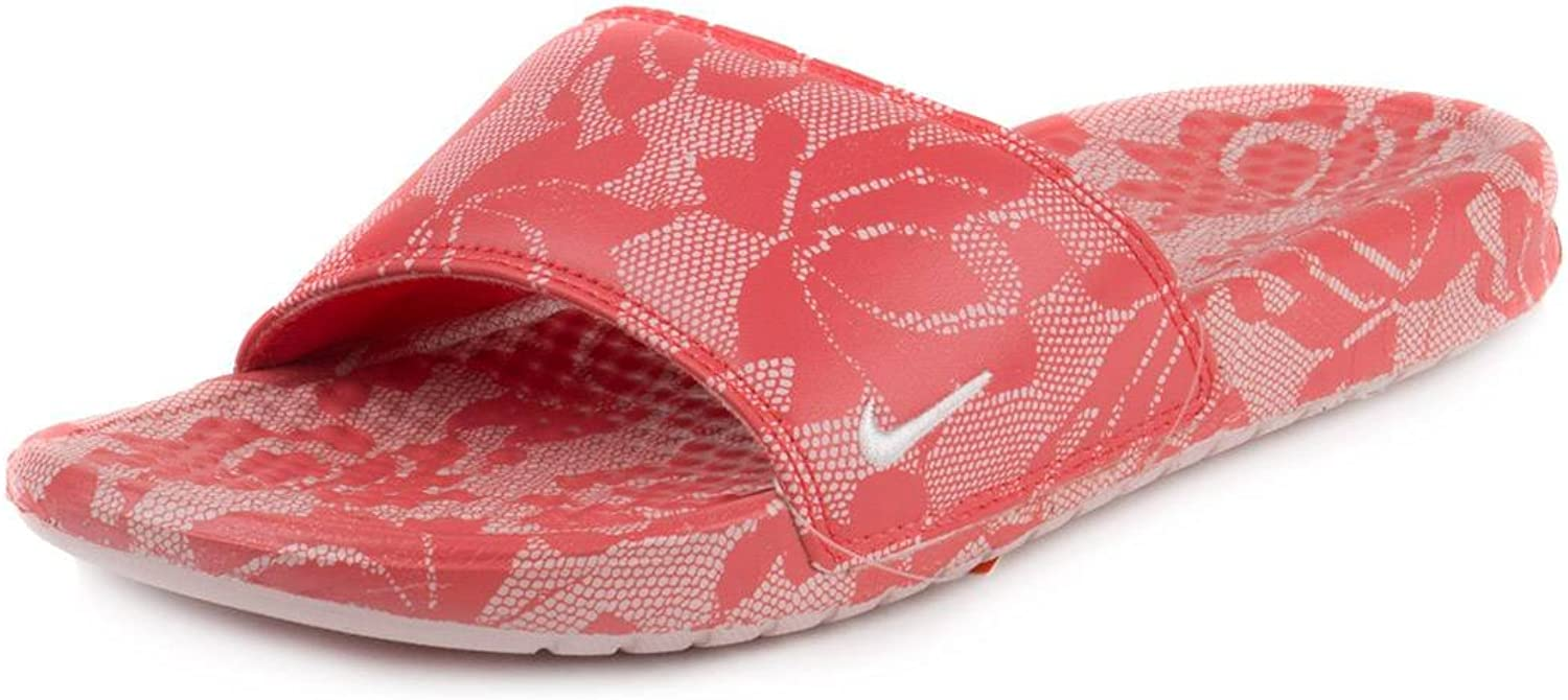 Nike Womens Benassi SP Faux Leather Lace Print Slide Sandals