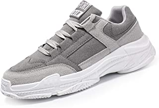 Shangruiqi Running Sneaker for Men Athletic Sports Shoes Lace up Faux Suede Leather Antislip Shockproof Thick Outsole Anti-Wear (Color : Gray, Size : 6.5 UK)