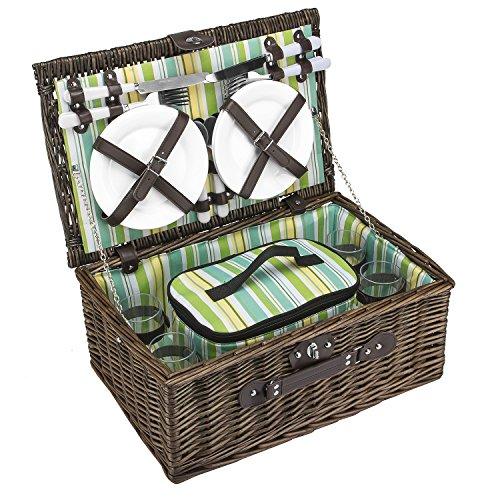 anndora Picknickkorb 4 Personen Weidenkorb inkl. Kühltasche + Zubehör 21 TLG.