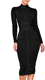 b47c281162d UONBOX Women s Long Sleeves Cross Strap Ribbed Club Party Midi Bodycon  Bandage Dress