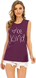 HDLTE Womens Be Kind Tank Tops Funny Graphic Racer Back Cami Muscle Loose Fit Inspirational Sleeveless Vest
