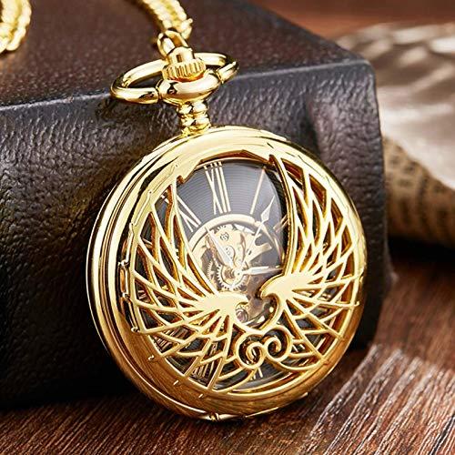XTQDM Reloj de Bolsillo mecánico con Astilla de Oro, Collar con alas de ángel, Reloj Grabado con Viento a Mano, Relojes de Oro para Hombre con Cadena, Reloj mecánico