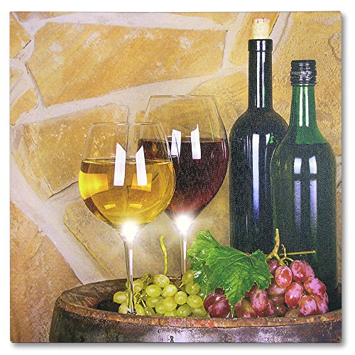 BANBERRY DESIGNS LED Wine Decor Wall Art - Wine Canvas Print with LED Lights - Pictured with Wine Glasses Wine Bottles Grapes on a Barrel - 12x12 Inch