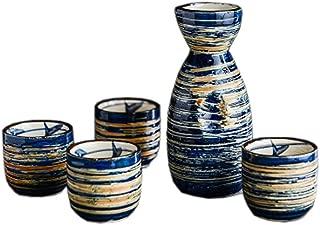FANCY PUMPKIN Japanese Ceramic Sake Bottle Cups Sets Sake Flask for Sushi Bar, 02