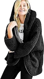 Womens Fleece Jacket Casual Double-Sided Coats Fuzzy Winter Warm Padded Open Front Reversible Outwear