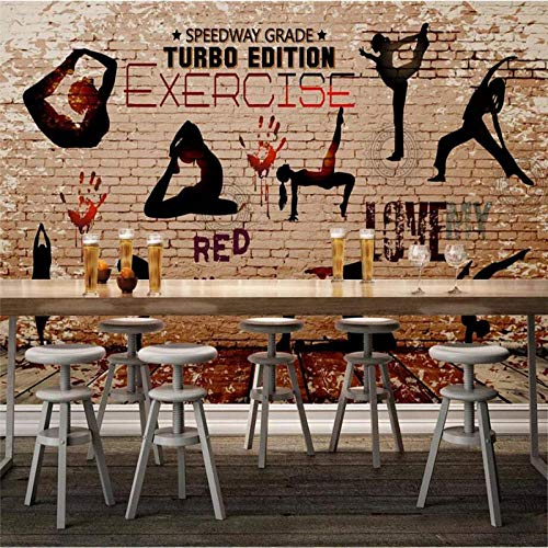Custom Wall Gym Yoga Sport Silhouette TV Background Home Decor 3D Wall - 200x140 Cm/78.8X55.1 Inch